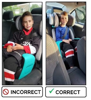 Child in car seat incorrectly with bulky hockey gears and a child in a car seat correctly wearing base layers.