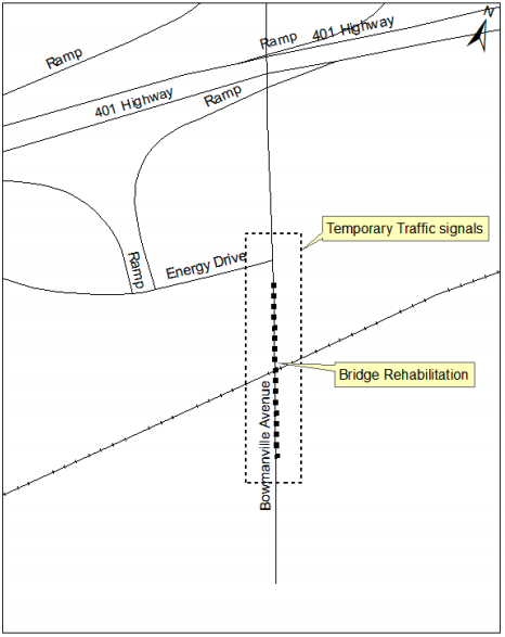 Map of traffic signal location on Bowmanville Ave.