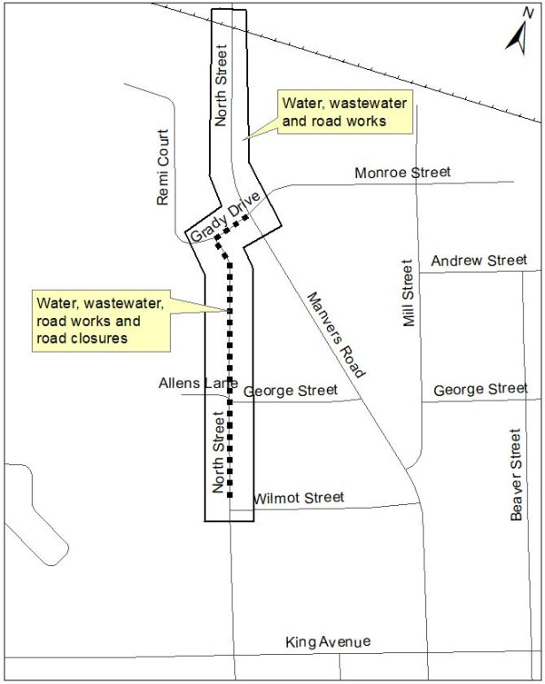 Map showing location of road reconstruction in Newcastle