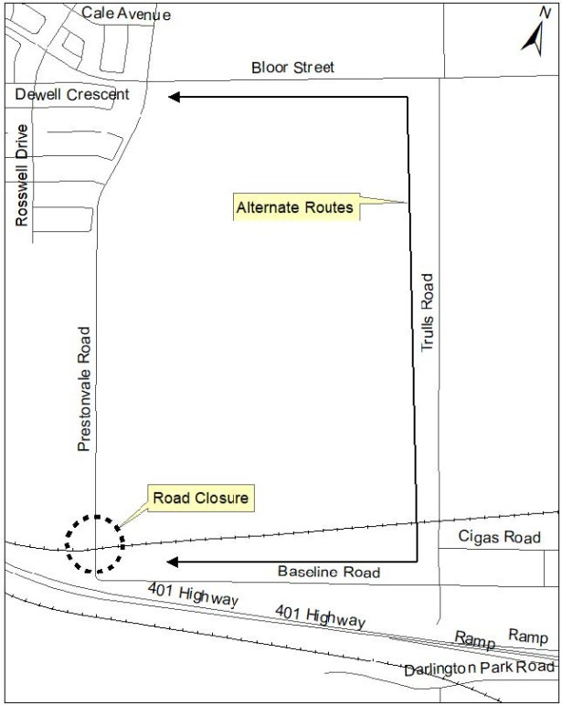 Map of alternate route