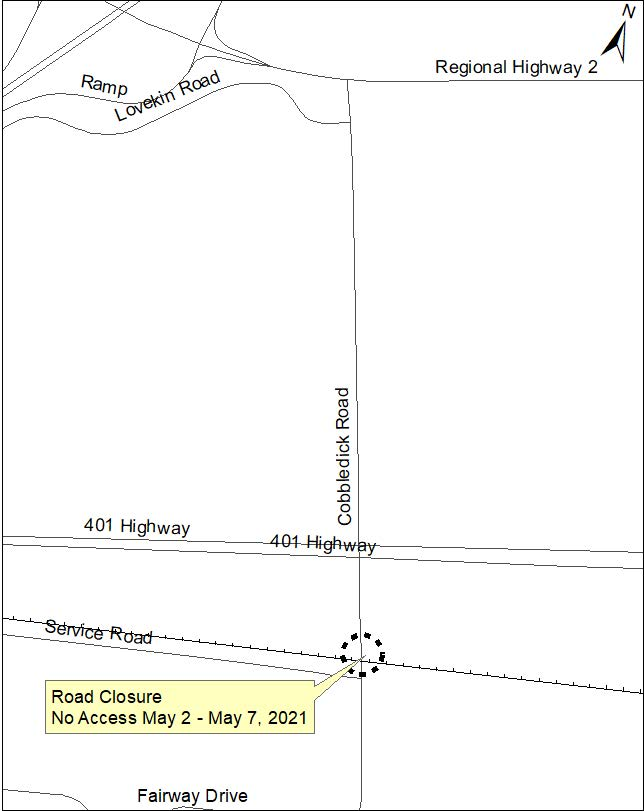 Location of road closure at the rail crossing on Cobbledick Road