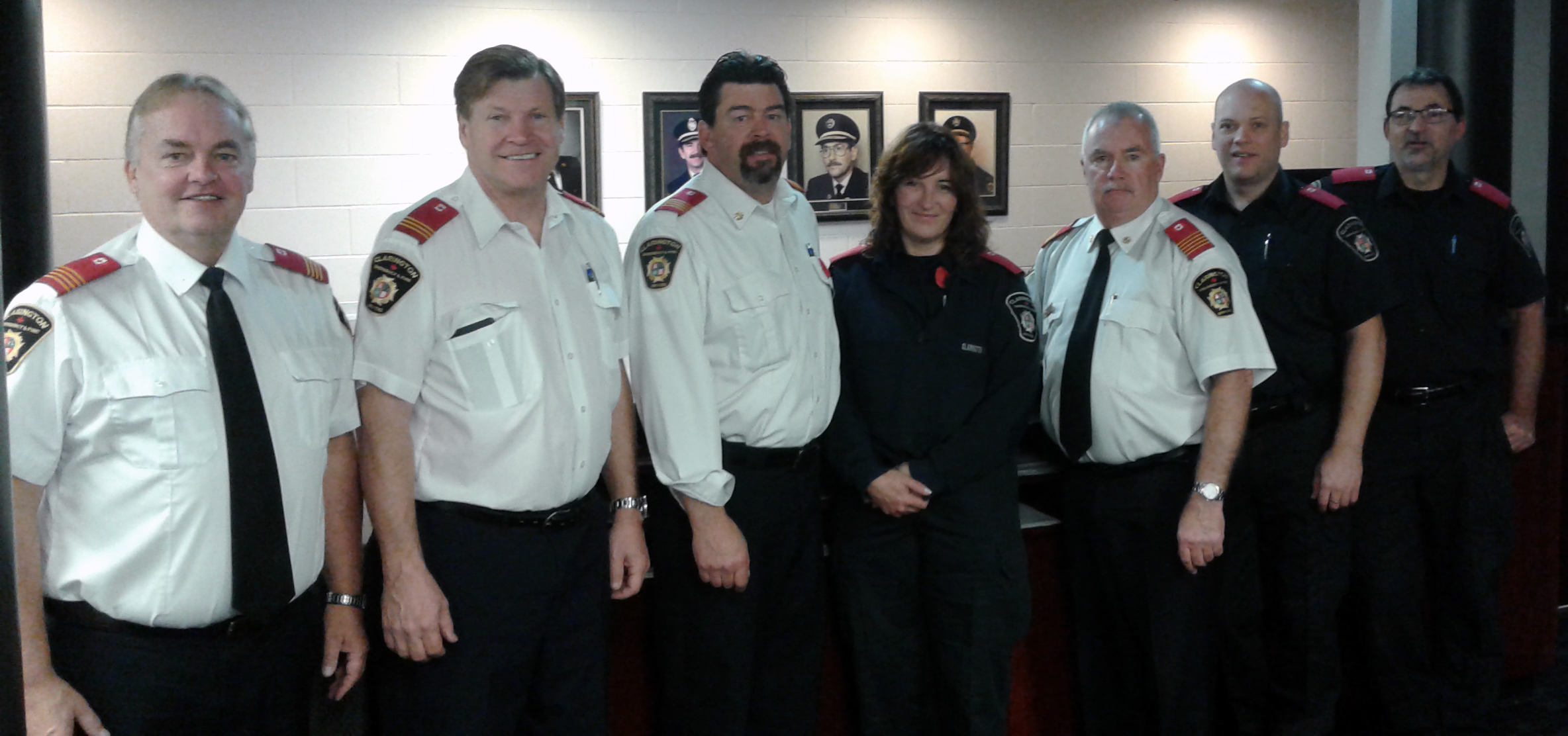 """Clarington Emergency & Fire Services don RED epaulettes in support of the Wounded Warriors of Canada's """"Slip on the Red"""" campaign"""