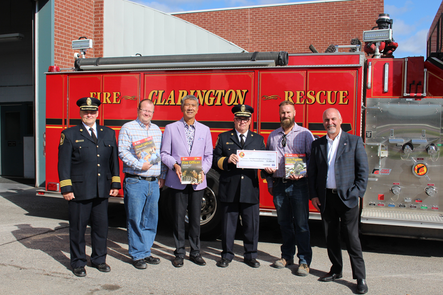 Photo above: Deputy Chief Bill Hesson, Councillor Steven Cooke, Councillor Willie Woo, Fire Chief Gord Weir, Ian Garnett (Enbridge), Jeff Holden on behalf of the Fire Marshal's Public Fire Safety Council