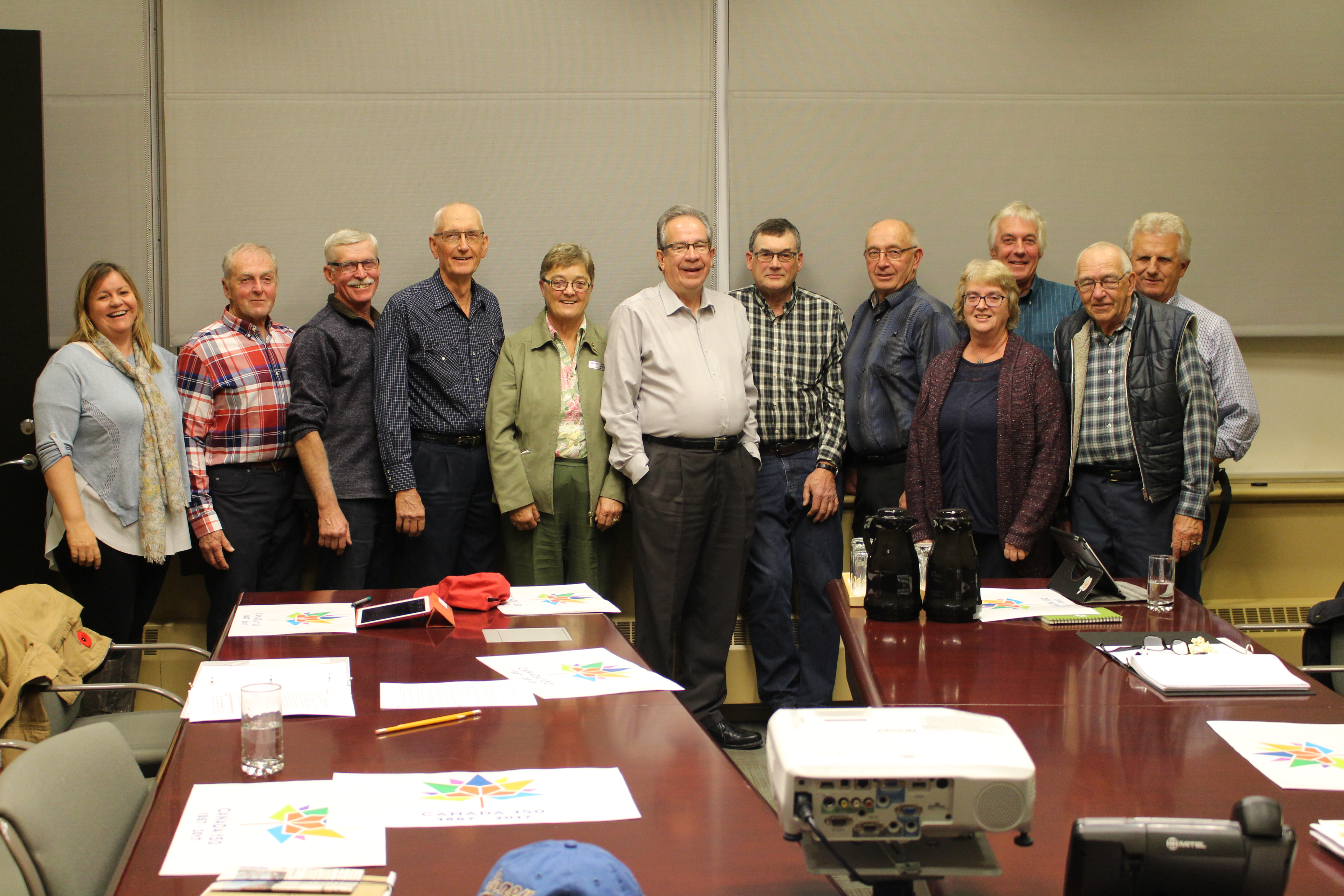 Minister Leal meets with the Agricultural Advisory Committee of Clarington. Pictured above (L to R): Jennifer Knox, John Cartwright, Eric Bowman, Ted Watson, Councillor Partner, Minister Leal, Tom Barrie, Don Rickard, Les Caswell, Richard Rekker, (front row) Brenda Metcalf, Elgin Greenham