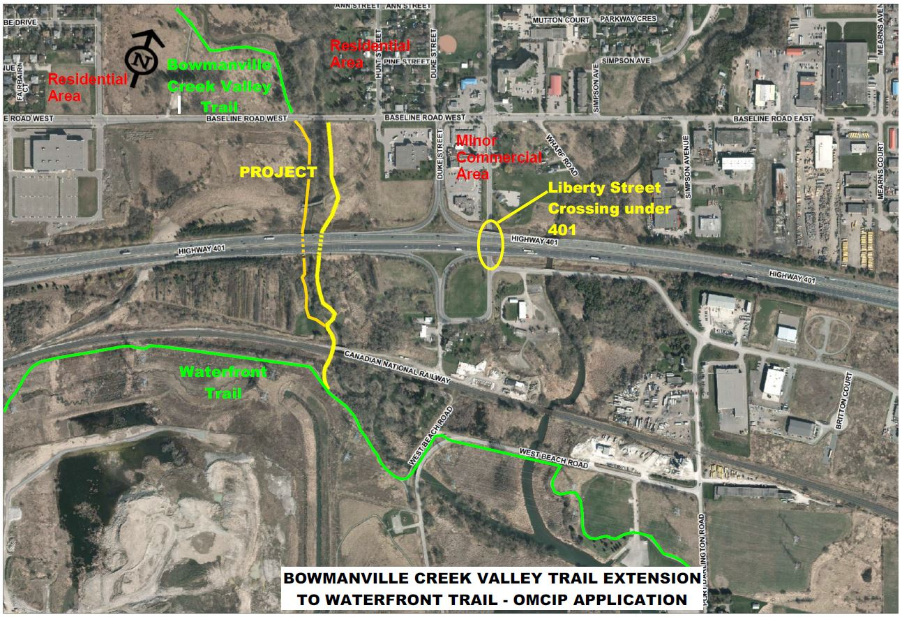 Map of Bowmanville Creek Valley Trail Extension