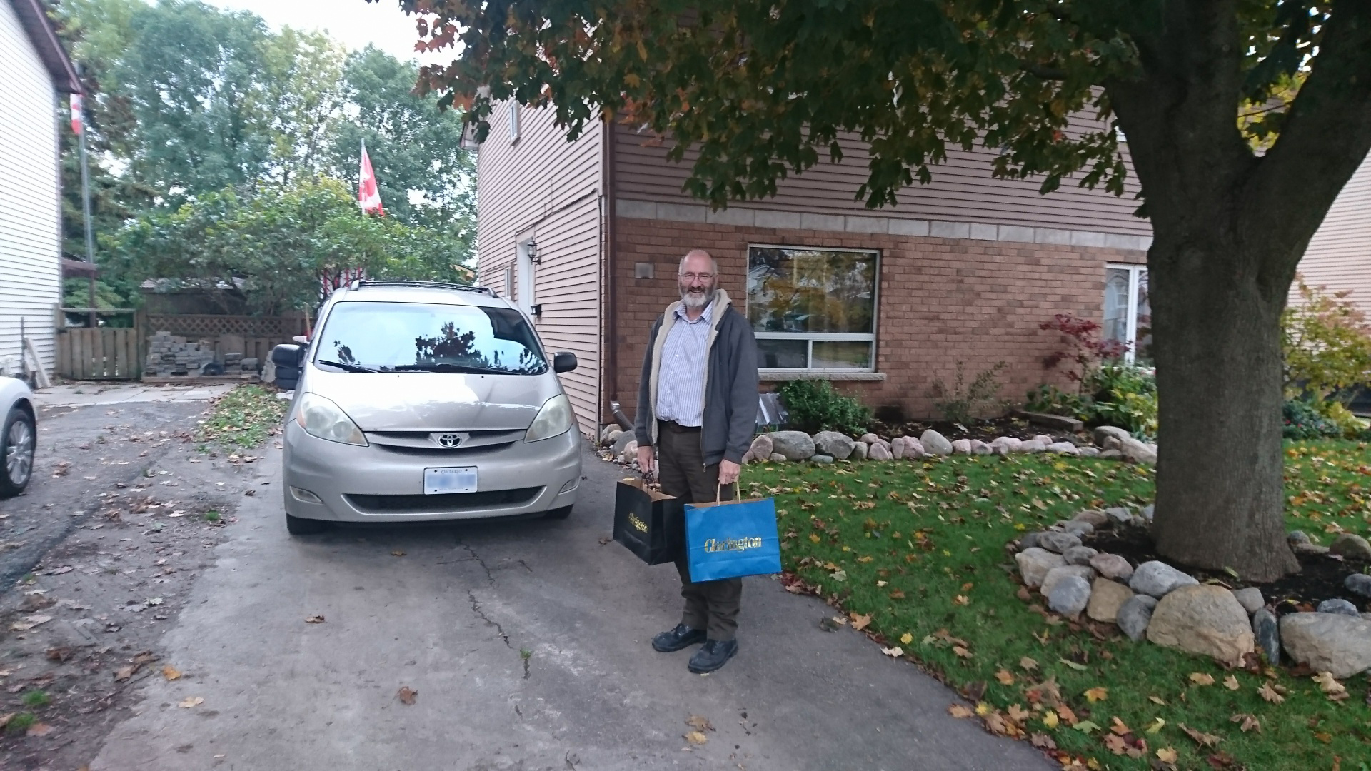 A Clarington staff member hand-delivers candy to Emilee