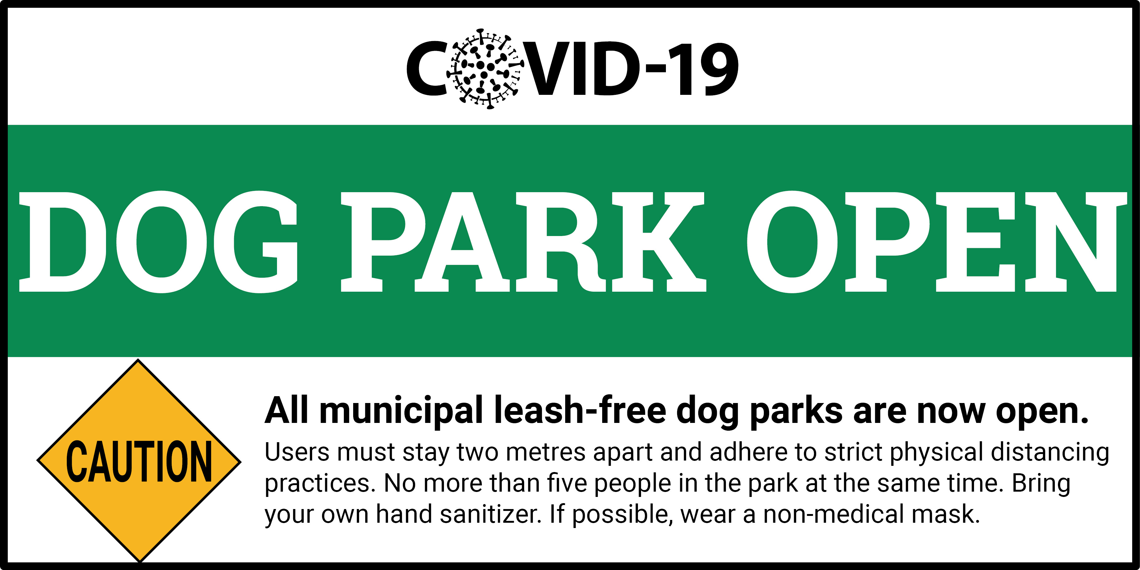 Graphic stating that leash-free dog parks are open