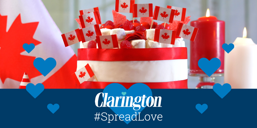 Image of Canadian flags with Spread love banner